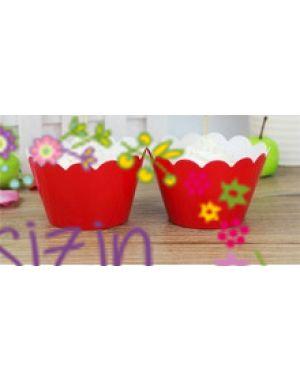 10'lu Kırmızı Renk Cupcake Sarıcı-Wrapper- pasta süsleme-kenar süsü