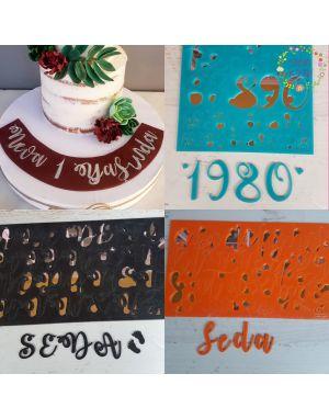 Alfabe Stamp Set - büyük ve küçük harfler+rakamlar+şeffaf plaka kaligrafi