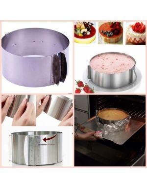 Ayarlanabilir daire pasta çemberi 10 cm yukseklik 16-30cm çap arası