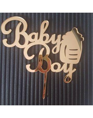 PLEKSİ PASTA ÜSTÜ SÜSLEME BABY BOY