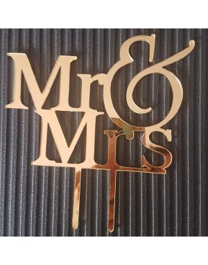 Mr & Mrs Yazı Pasta Üstü Pleksi