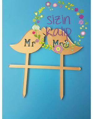 Kuşlar MR MRS Pleksi Pasta Süsleme